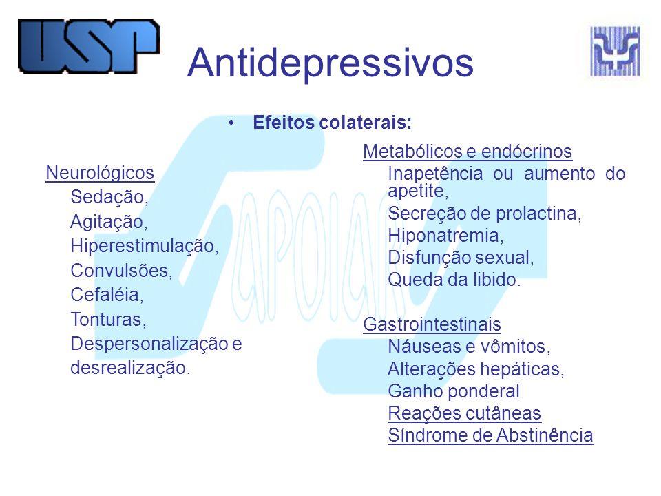 Antidepressivos IMAO (Inibidores da Monoaminoxidase) Moclobemida (Aurorix ) Tranilcipromina (Parnate ) Quadricíclicos Mirtazapina (Remeron )- NA & S Mianserina (Tolvon ) – NA Maprotilina (Ludiomil ) - NA Tricíclicos* Imipramina (Tofranil ) Amitriptilina (Tryptanol ) Nortripitilina (Pamelor ) Clomipramina (Anafranil ) *Ação sobre receptores S, NA, D, Muscarínicos e Histamínicos.