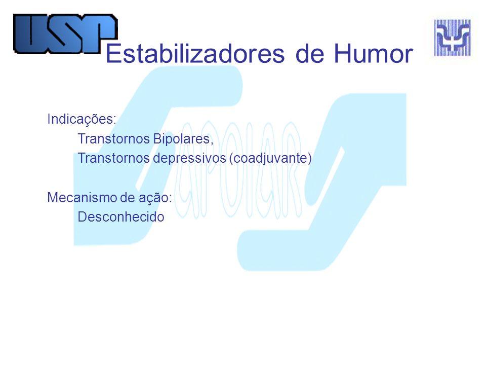 Estabilizadores de Humor Indicações: Transtornos Bipolares, Transtornos depressivos (coadjuvante) Mecanismo de ação: Desconhecido