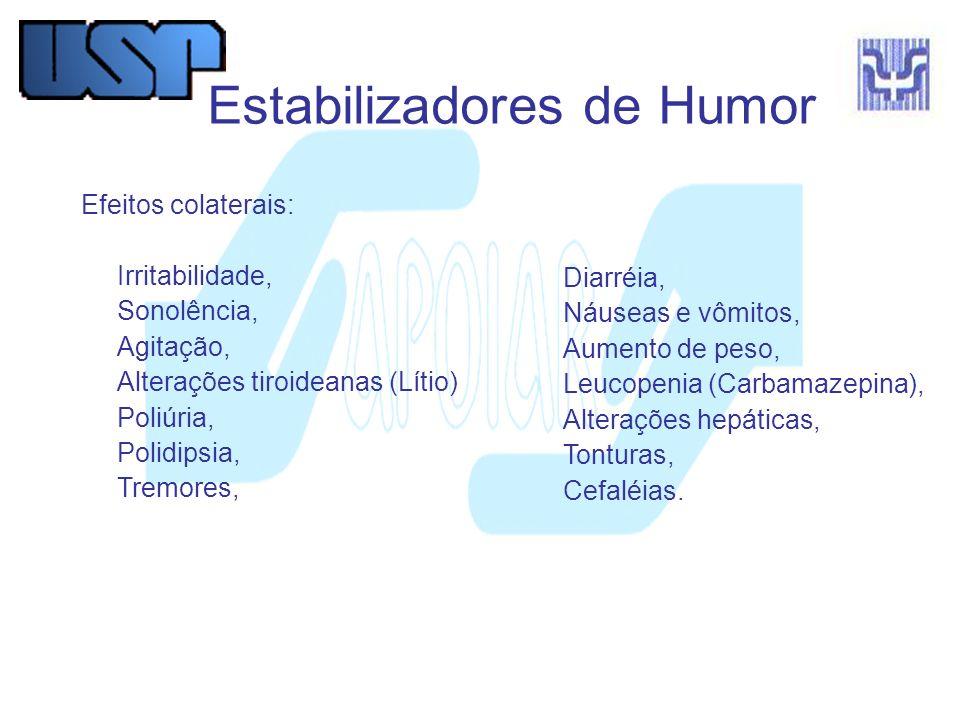 Diarréia, Náuseas e vômitos, Aumento de peso, Leucopenia (Carbamazepina), Alterações hepáticas, Tonturas, Cefaléias. Estabilizadores de Humor Efeitos