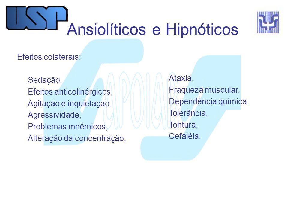 Ansiolíticos e Hipnóticos Efeitos colaterais: Sedação, Efeitos anticolinérgicos, Agitação e inquietação, Agressividade, Problemas mnêmicos, Alteração