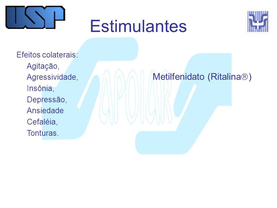 Estimulantes Efeitos colaterais: Agitação, Agressividade, Insônia, Depressão, Ansiedade Cefaléia, Tonturas. Metilfenidato (Ritalina )