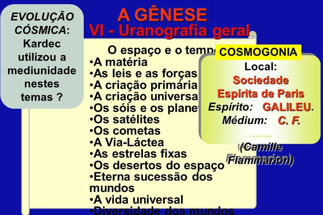CONSEQUÊNCIAS e APLICAÇÕES do E EE Espiritismo O espaço e o tempo A matéria As leis e as forças A criação primária A criação universal Os sóis e os pl