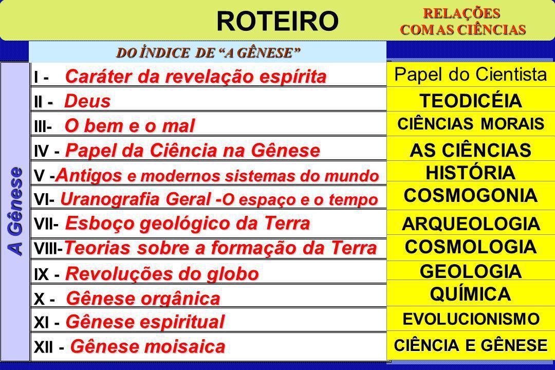 CIÊNCIAS CITADAS 12 CAPÍTULOS Teorias VIII- Teorias sobre a formação da Terra ROTEIRO I - Caráter da revelação espírita II -Deus III- O bem e o mal IV