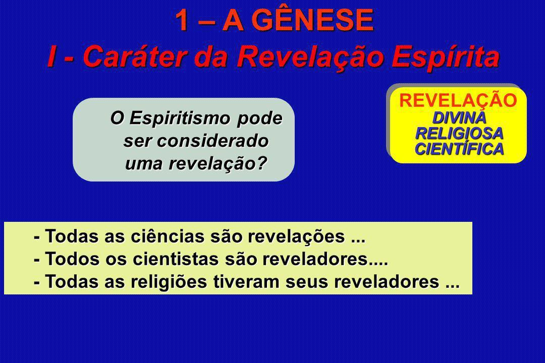 O Espiritismo pode ser considerado uma revelação? I - Caráter da Revelação Espírita DIVINA RELIGIOSA CIENTÍFICA REVELAÇÃO DIVINA RELIGIOSA CIENTÍFICA