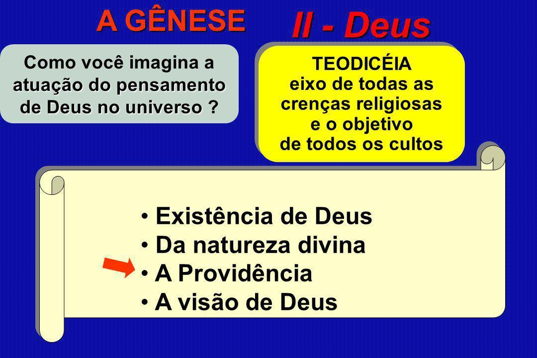 Existência de Deus Da natureza divina A Providência A visão de Deus Existência de Deus Da natureza divina A Providência A visão de Deus II - Deus atua