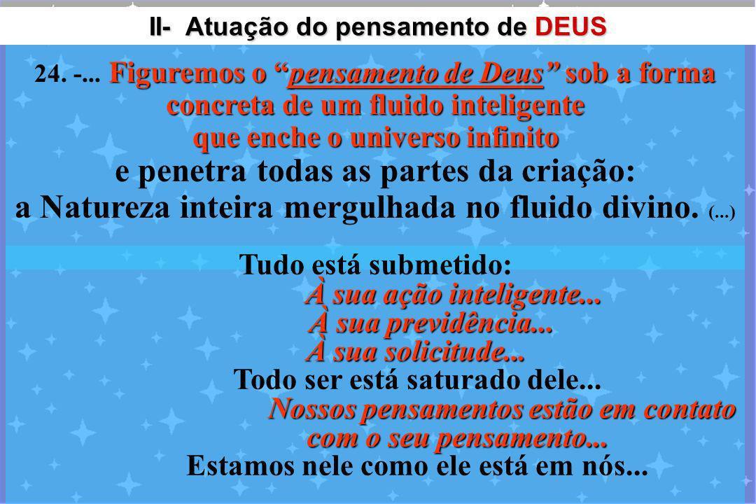 II- Atuação do pensamento de DEUS II- Atuação do pensamento de DEUS Figuremos o pensamento de Deus sob a forma concreta de um fluido inteligente que e