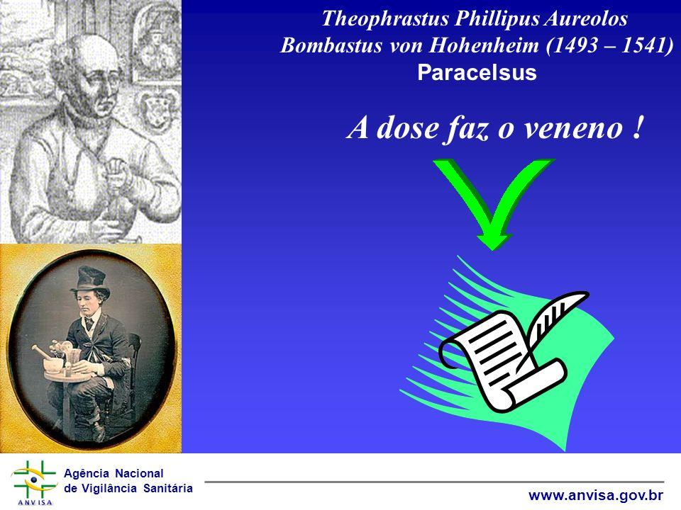 Agência Nacional de Vigilância Sanitária www.anvisa.gov.br Theophrastus Phillipus Aureolos Bombastus von Hohenheim (1493 – 1541) Paracelsus A dose faz