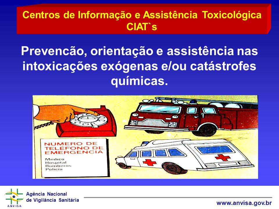Agência Nacional de Vigilância Sanitária www.anvisa.gov.br Prevencão, orientação e assistência nas intoxicações exógenas e/ou catástrofes químicas. Ce