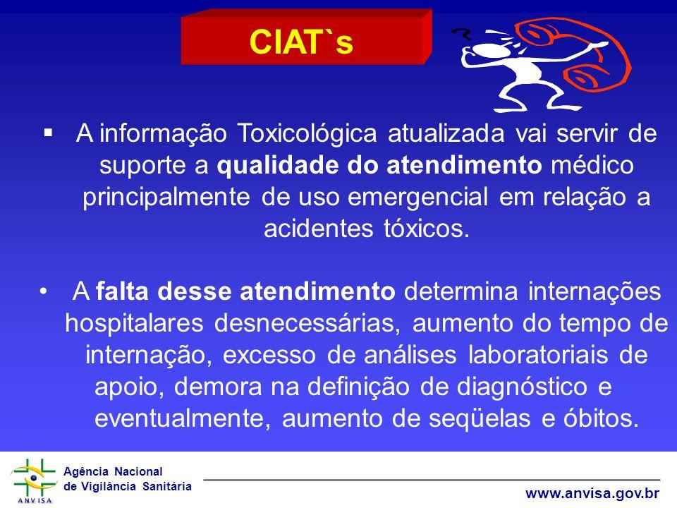 Agência Nacional de Vigilância Sanitária www.anvisa.gov.br A informação Toxicológica atualizada vai servir de suporte a qualidade do atendimento médic