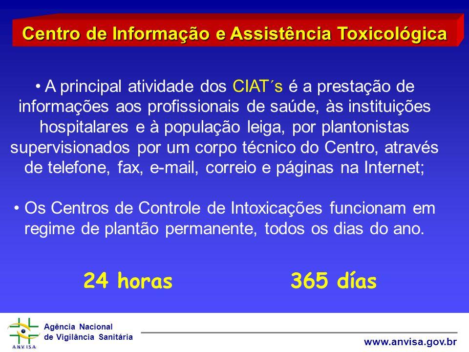 Agência Nacional de Vigilância Sanitária www.anvisa.gov.br A principal atividade dos CIAT´s é a prestação de informações aos profissionais de saúde, à