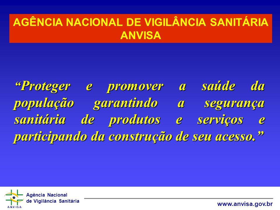 Agência Nacional de Vigilância Sanitária www.anvisa.gov.br Proteger e promover a saúde da população garantindo a segurança sanitária de produtos e ser