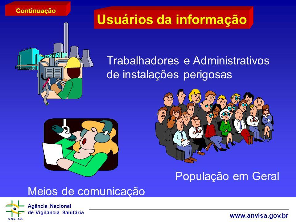 Agência Nacional de Vigilância Sanitária www.anvisa.gov.br Usuários da informação Trabalhadores e Administrativos de instalações perigosas População e