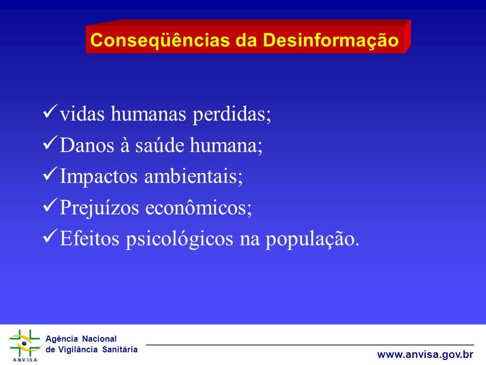 Agência Nacional de Vigilância Sanitária www.anvisa.gov.br vidas humanas perdidas; Danos à saúde humana; Impactos ambientais; Prejuízos econômicos; Ef