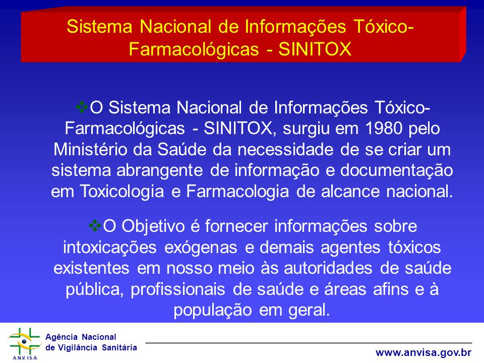 Agência Nacional de Vigilância Sanitária www.anvisa.gov.br O Sistema Nacional de Informações Tóxico- Farmacológicas - SINITOX, surgiu em 1980 pelo Min