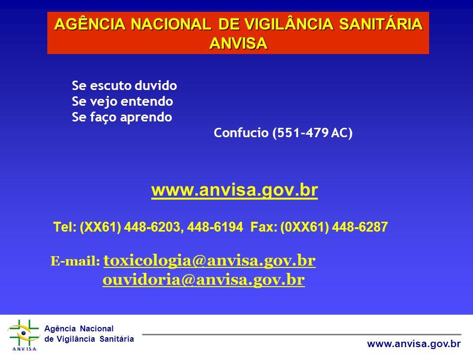 Agência Nacional de Vigilância Sanitária www.anvisa.gov.br Tel: (XX61) 448-6203, 448-6194 Fax: (0XX61) 448-6287 E-mail: toxicologia@anvisa.gov.br ouvi