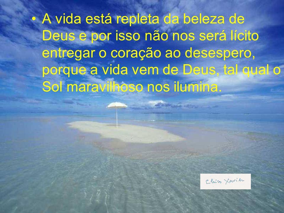 A vida está repleta da beleza de Deus e por isso não nos será lícito entregar o coração ao desespero, porque a vida vem de Deus, tal qual o Sol maravilhoso nos ilumina.