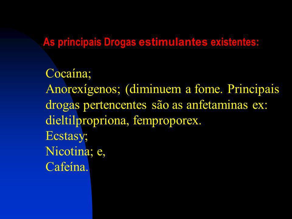 Álcool Inalantes e solventes (cola, thinner, removedores, éter, lança-perfume). Barbitúricos (soníferos ou hipnóticos) Opiáceos (ou narcóticos) Drogas