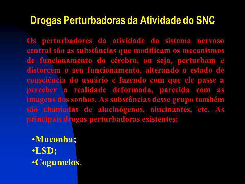 As principais Drogas estimulantes existentes: Cocaína; Anorexígenos; (diminuem a fome. Principais drogas pertencentes são as anfetaminas ex: dieltilpr