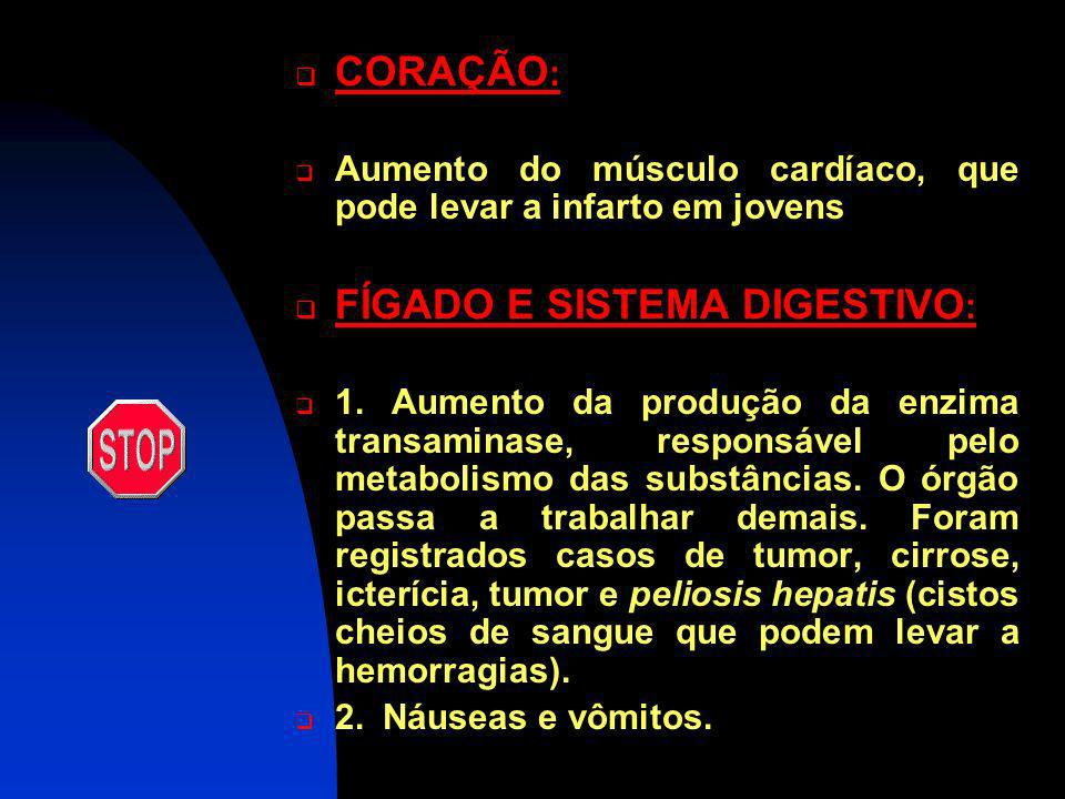 Efeitos colaterais dos anabolizantes em ambos os sexos CÉREBRO: 1. D ores de cabeça 2. T onturas 3. A umento da agressividade 4. I rritação 5. A ltera