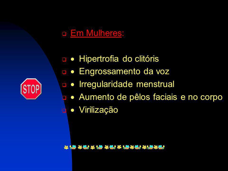 Em Homens I rritabilidade na bexiga. Ginicomastia (desenvolvimento excessivo da glândula mamária do homem). A umento da freqüência de ereções. A trofi