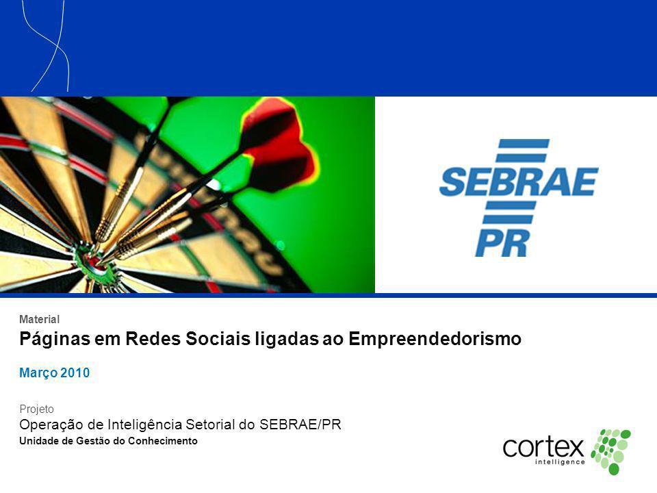 Material Páginas em Redes Sociais ligadas ao Empreendedorismo Março 2010 Projeto Operação de Inteligência Setorial do SEBRAE/PR Unidade de Gestão do C