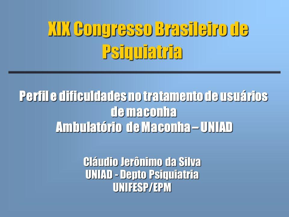XIX Congresso Brasileiro de Psiquiatria Cláudio Jerônimo da Silva UNIAD - Depto Psiquiatria UNIFESP/EPM Perfil e dificuldades no tratamento de usuário