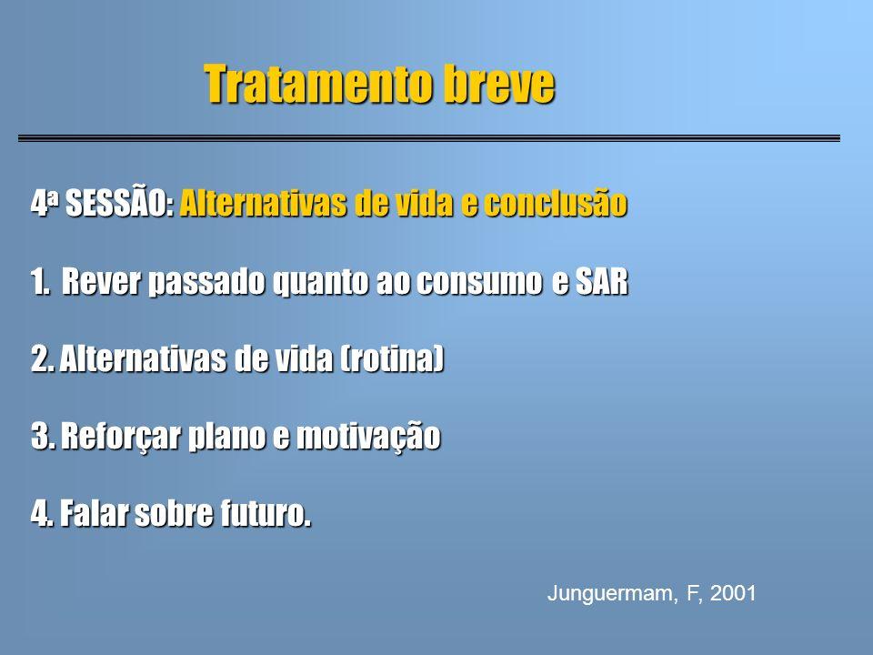 4 a SESSÃO: Alternativas de vida e conclusão 1. Rever passado quanto ao consumo e SAR 2. Alternativas de vida (rotina) 3. Reforçar plano e motivação 4