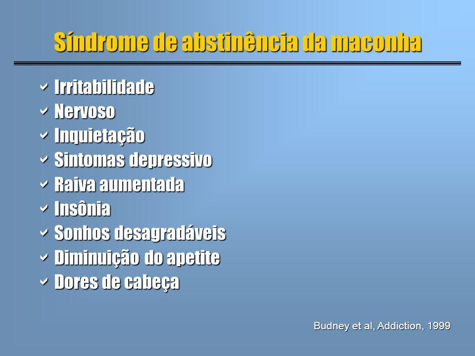 Síndrome de abstinência da maconha Irritabilidade Irritabilidade Nervoso Nervoso Inquietação Inquietação Sintomas depressivo Sintomas depressivo Raiva