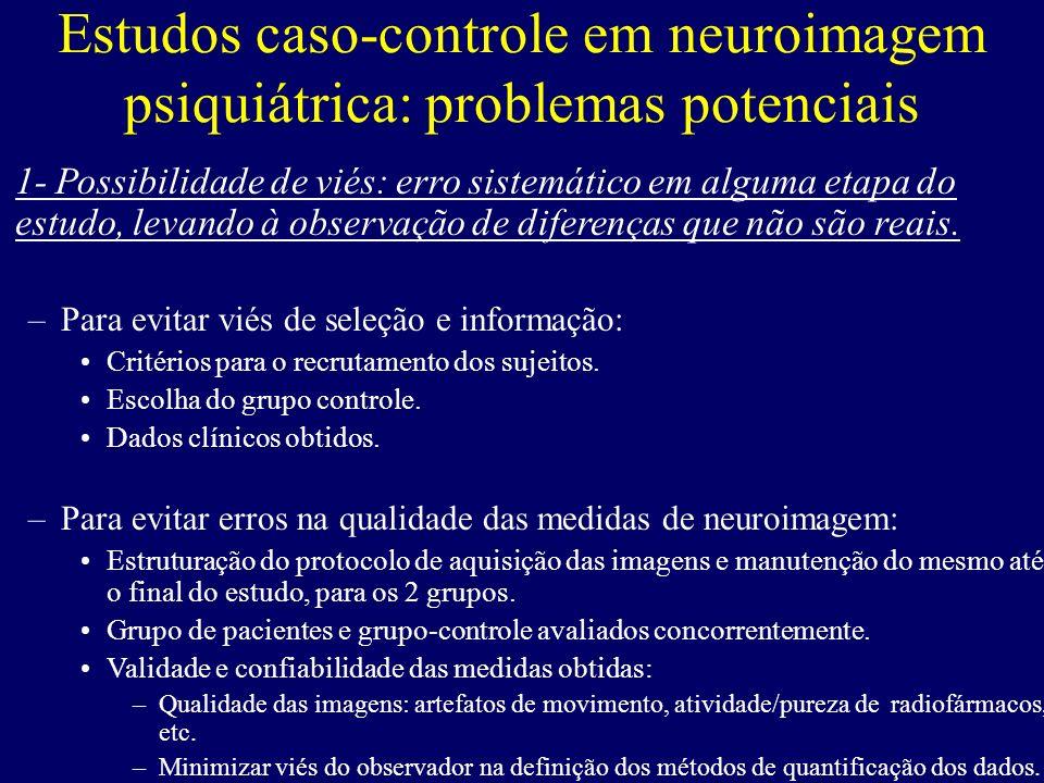 Estudos caso-controle em neuroimagem psiquiátrica: problemas potenciais 1- Possibilidade de viés: erro sistemático em alguma etapa do estudo, levando