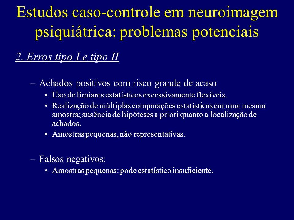 Estudos caso-controle em neuroimagem psiquiátrica: problemas potenciais 2. Erros tipo I e tipo II –Achados positivos com risco grande de acaso Uso de