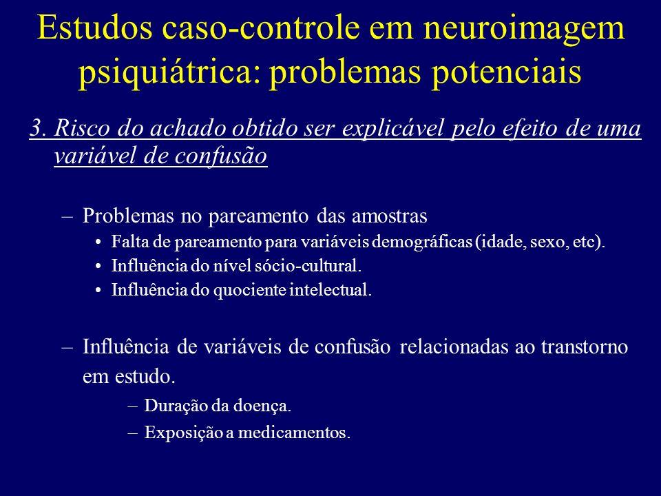 Estudos caso-controle em neuroimagem psiquiátrica: problemas potenciais 3. Risco do achado obtido ser explicável pelo efeito de uma variável de confus