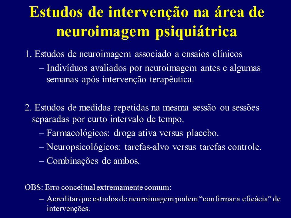 Estudos de intervenção na área de neuroimagem psiquiátrica 1. Estudos de neuroimagem associado a ensaios clínicos –Indivíduos avaliados por neuroimage