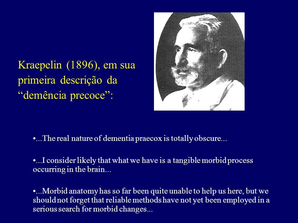 Kraepelin (1896), em sua primeira descrição da demência precoce:...The real nature of dementia praecox is totally obscure......I consider likely that