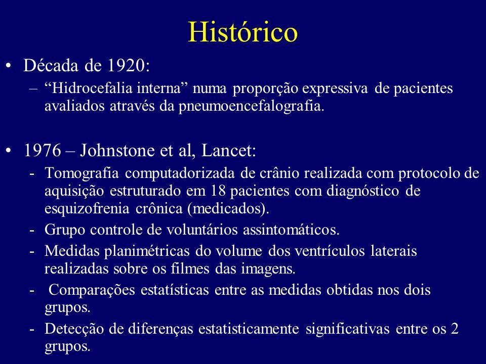 Histórico Década de 1920: –Hidrocefalia interna numa proporção expressiva de pacientes avaliados através da pneumoencefalografia. 1976 – Johnstone et