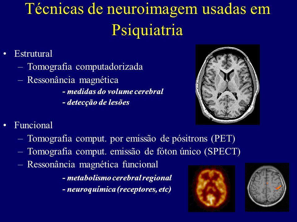 Técnicas de neuroimagem usadas em Psiquiatria Estrutural –Tomografia computadorizada –Ressonância magnética - medidas do volume cerebral - detecção de