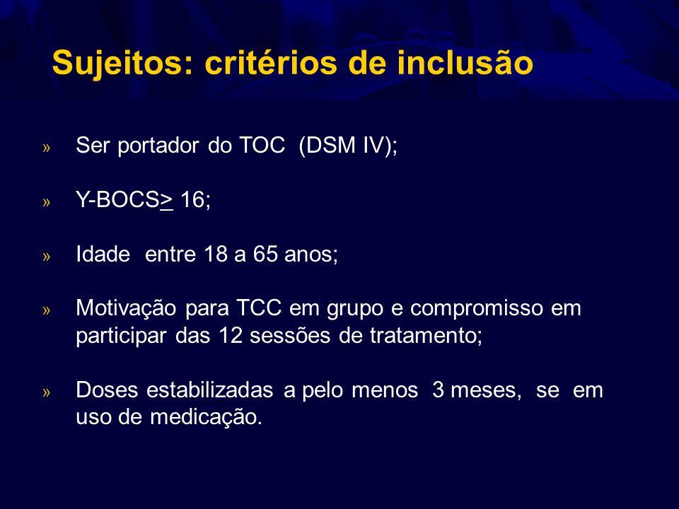 » Ser portador do TOC (DSM IV); » Y-BOCS> 16; » Idade entre 18 a 65 anos; » Motivação para TCC em grupo e compromisso em participar das 12 sessões de