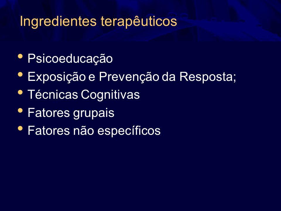 Ingredientes terapêuticos Psicoeducação Exposição e Prevenção da Resposta; Técnicas Cognitivas Fatores grupais Fatores não específicos