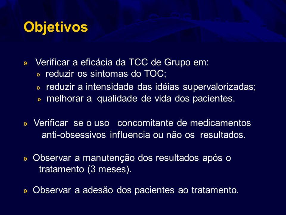Objetivos » Verificar a eficácia da TCC de Grupo em: » reduzir os sintomas do TOC; » reduzir a intensidade das idéias supervalorizadas; » melhorar a q