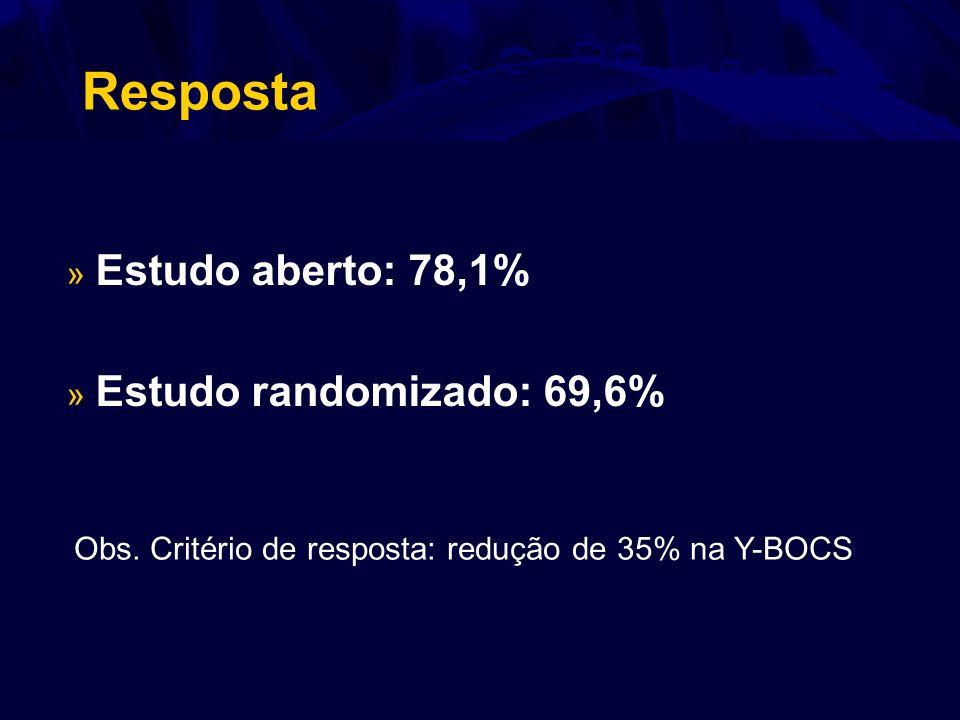 Resposta » Estudo aberto: 78,1% » Estudo randomizado: 69,6% Obs. Critério de resposta: redução de 35% na Y-BOCS
