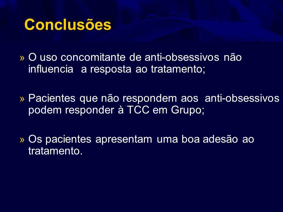 Conclusões » O uso concomitante de anti-obsessivos não influencia a resposta ao tratamento; » Pacientes que não respondem aos anti-obsessivos podem re