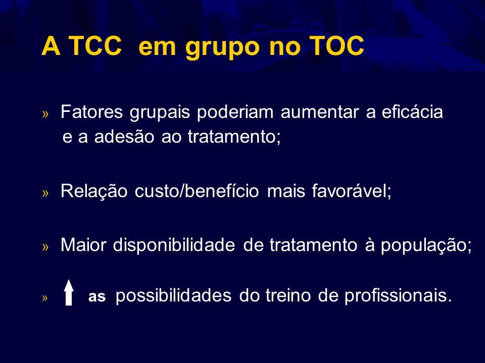 A TCC em grupo no TOC » Fatores grupais poderiam aumentar a eficácia e a adesão ao tratamento; » Relação custo/benefício mais favorável; » Maior dispo
