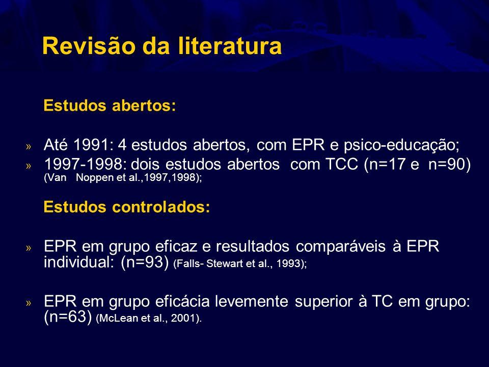 Revisão da literatura Estudos abertos: » Até 1991: 4 estudos abertos, com EPR e psico-educação; » 1997-1998: dois estudos abertos com TCC (n=17 e n=90