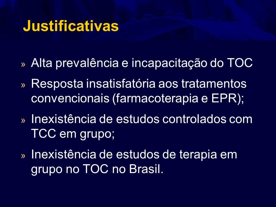 Justificativas » Alta prevalência e incapacitação do TOC » Resposta insatisfatória aos tratamentos convencionais (farmacoterapia e EPR); » Inexistênci