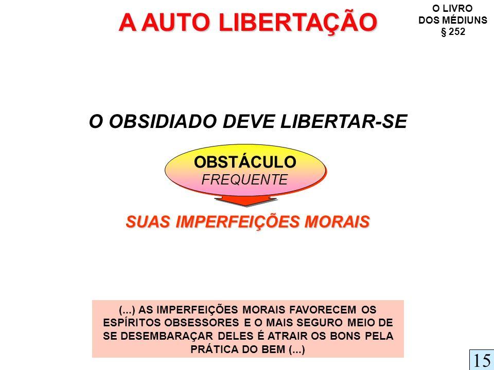A AUTO LIBERTAÇÃO O OBSIDIADO DEVE LIBERTAR-SE OBSTÁCULO FREQUENTE OBSTÁCULO FREQUENTE O LIVRO DOS MÉDIUNS § 252 (...) AS IMPERFEIÇÕES MORAIS FAVORECE