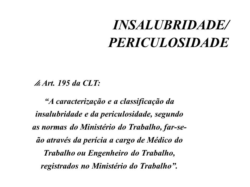 INSALUBRIDADE/ PERICULOSIDADE Art. 195 da CLT: A caracterização e a classificação da insalubridade e da periculosidade, segundo as normas do Ministéri