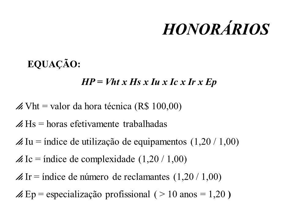 HONORÁRIOS Vht = valor da hora técnica (R$ 100,00) Hs = horas efetivamente trabalhadas Iu = índice de utilização de equipamentos (1,20 / 1,00) Ic = ín