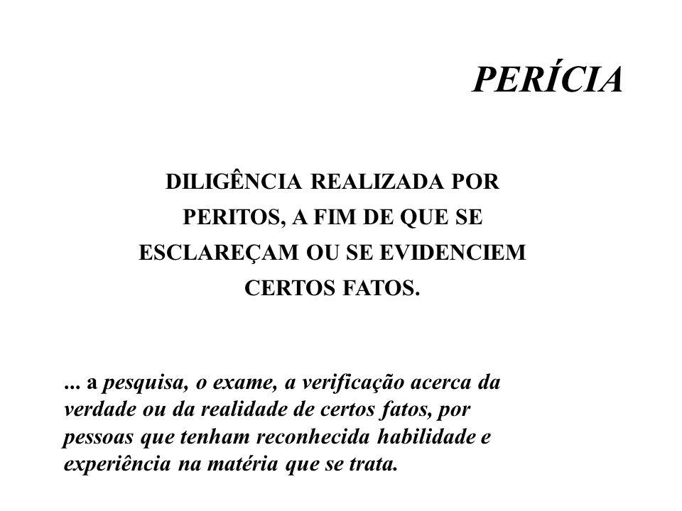 PERÍCIA DILIGÊNCIA REALIZADA POR PERITOS, A FIM DE QUE SE ESCLAREÇAM OU SE EVIDENCIEM CERTOS FATOS.... a pesquisa, o exame, a verificação acerca da ve