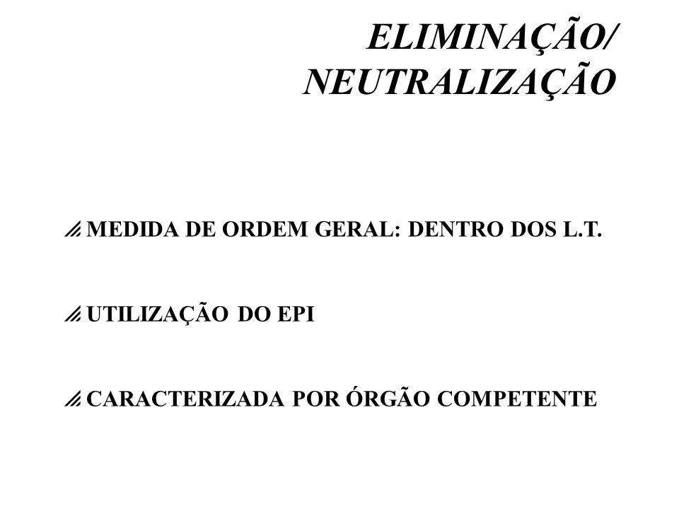 ELIMINAÇÃO/ NEUTRALIZAÇÃO UTILIZAÇÃO DO EPI CARACTERIZADA POR ÓRGÃO COMPETENTE MEDIDA DE ORDEM GERAL: DENTRO DOS L.T.