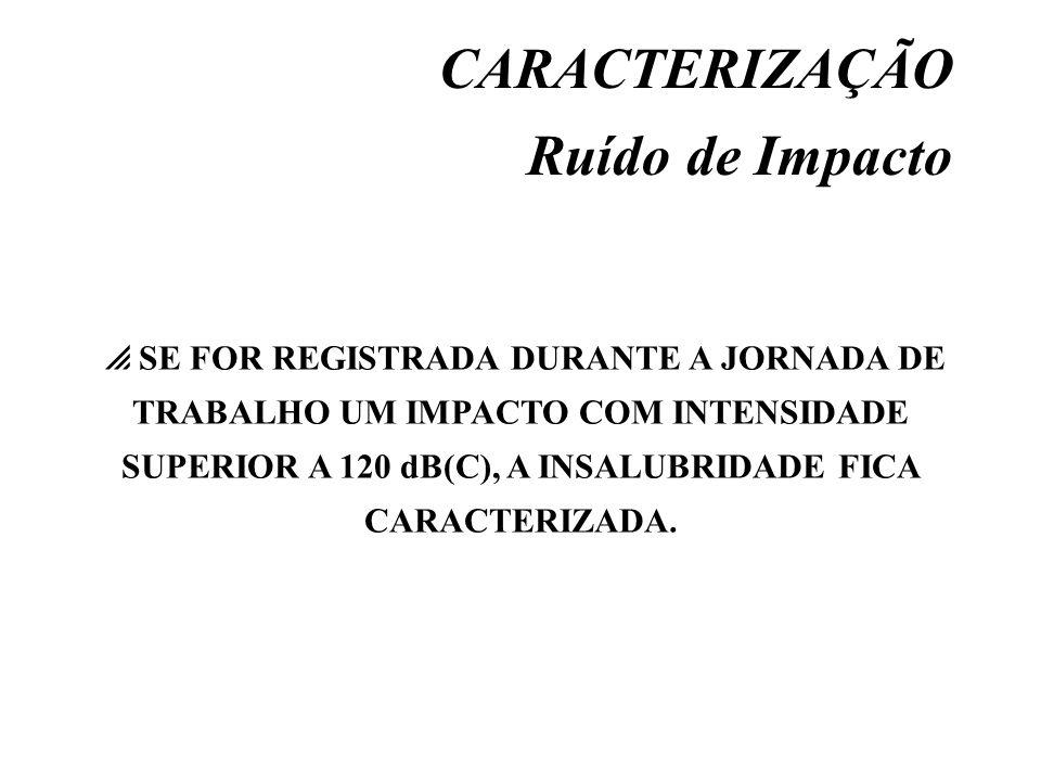 CARACTERIZAÇÃO Ruído de Impacto SE FOR REGISTRADA DURANTE A JORNADA DE TRABALHO UM IMPACTO COM INTENSIDADE SUPERIOR A 120 dB(C), A INSALUBRIDADE FICA