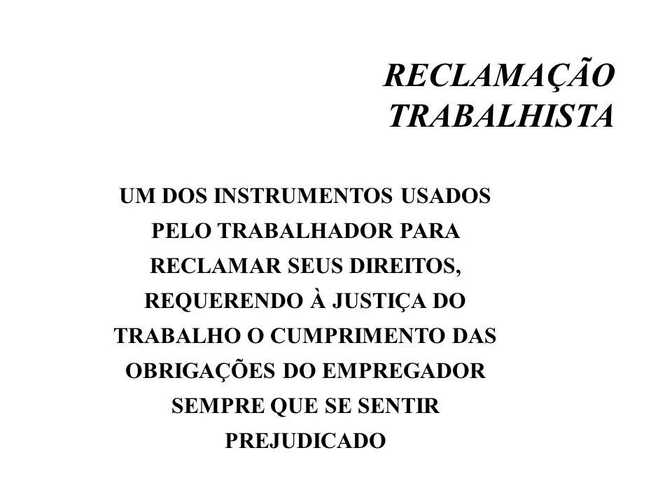 RECLAMAÇÃO TRABALHISTA UM DOS INSTRUMENTOS USADOS PELO TRABALHADOR PARA RECLAMAR SEUS DIREITOS, REQUERENDO À JUSTIÇA DO TRABALHO O CUMPRIMENTO DAS OBR
